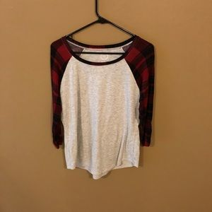 Faux Flannel Baseball Style T-Shirt